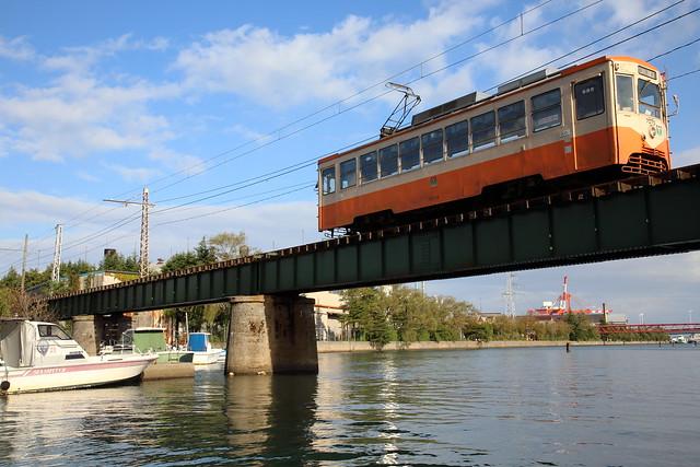 Tram running on the bridge