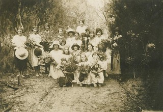 Gathering wildflowers on Russell Island, Queensland, 1924