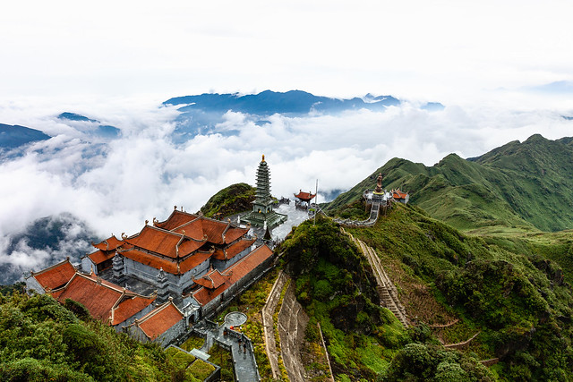 Beautiful view from Fansipan mountain with a Buddhistic temple