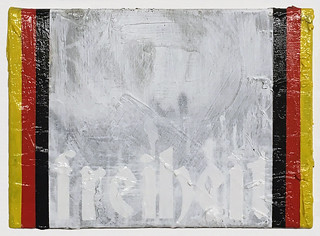 Zavier Ellis 'Freiheit', 2018 Oil, acrylic, spray paint, house paint and collage on canvas 25.5x35.5cm