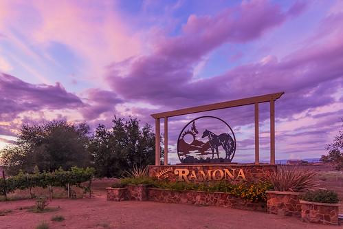 ramona california unitedstates us periwinkle sky sunset sign horse hawk purple clouds sandiego sandiegocounty rural