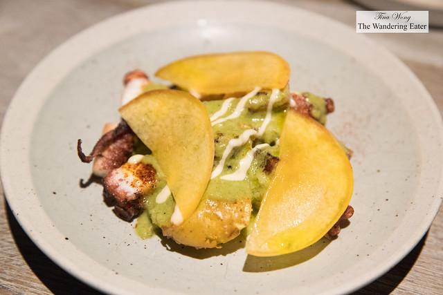 Octopus, yellow peach, mojo verde, fermented dubu