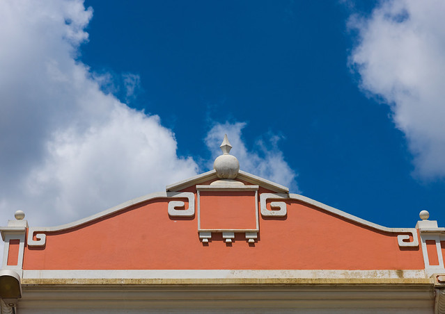 Top of an old portuguese colonial house against the sky, Luanda Province, Luanda, Angola