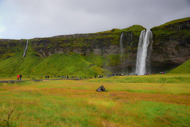 Seljalandsfoss Waterfall along the South Coast near Hvolsvöllur Iceland
