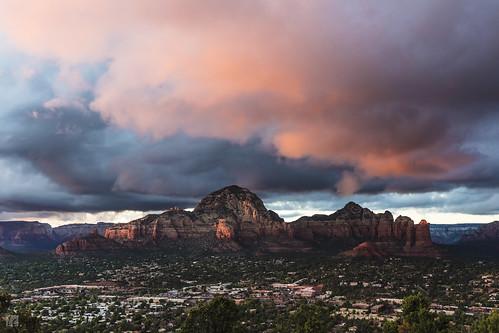 sedona sunset airportmesa clouds colorfulclouds colorful downtown sedonadowntown mountains dusk landscape nature arizona travel mesa