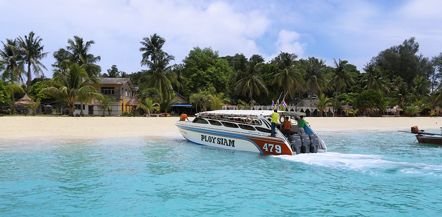 Arrival by speedboat on the southernmost island Koh Lipe of Thailand