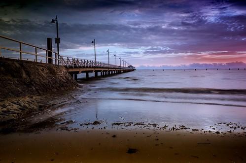 queensland australia pier sky sunrise beach