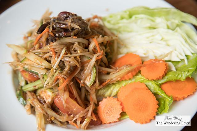 Tum pu pla ra - Salted crab, black crab paste, fermented fish sauce, green papaya salad