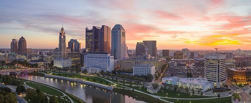 columbus sunrise cityscape downtown mavicpro mavicpro2 drone panorama ohio capital capitalcity