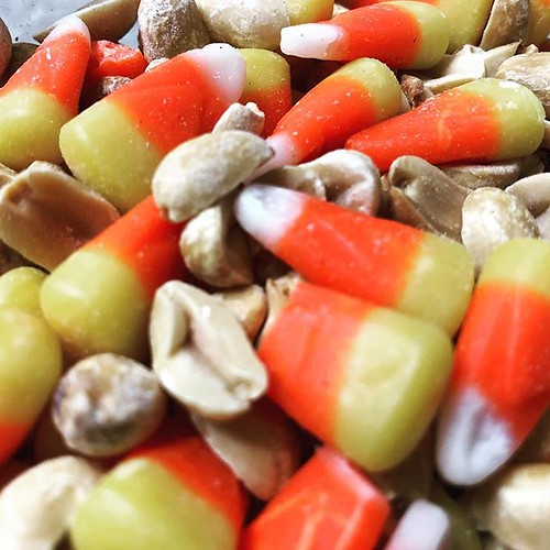 Now that it is October it is time for my once yearly purchase of candy corn that I mix with unsalted peanuts!   by Allen J Fuller III