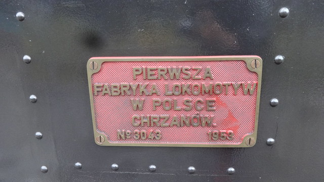 1953 Berlin Typenschild Dampflok Luise Typ Las von FABLOK in Chrzanow in Polen Werk-Nr. 3043 Parkeisenbahn Wuhlheide An der Wuhlheide 189 in 12459 Schöneweide
