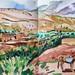 'Mountain village, Morocco' Watercolour on paper, 59x21cm