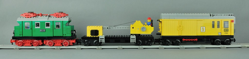 LEGO 12 Volt service train with 7814 crane an MOC engine and waggon