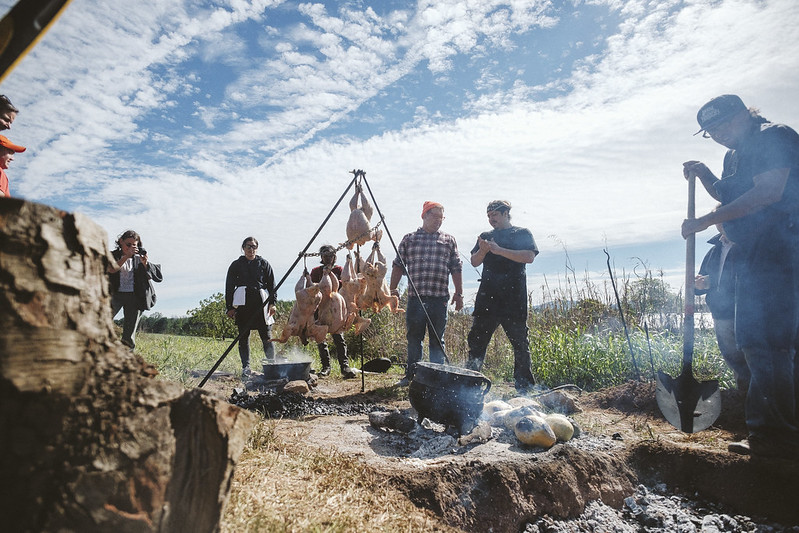 Mountainside outdoor kitchen at the Indigenous Foodways Workshop. Smoking local heritage turkeys, cooking Pueblo hominy and Akimel O'odham Tepary beans, coal-roasting Seminole pumpkins, pit filled with coals for slow-roasting 65 lbs of local wild-caught rockfish.  11/17/2018  Photo credit: Ézé Amos