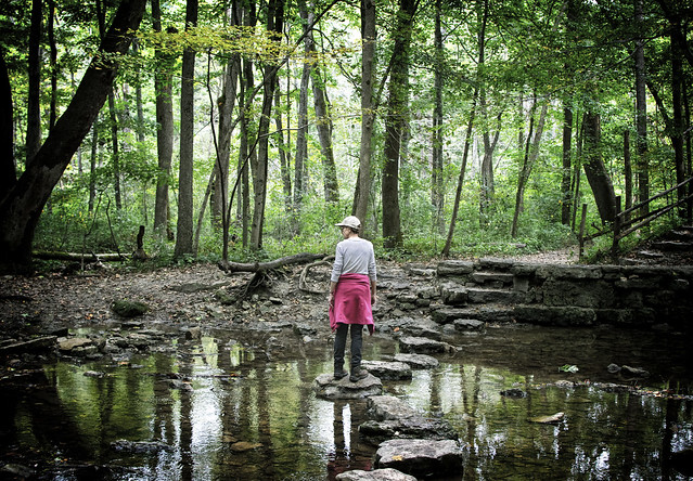 On the stepping stones at Glen Helen, Yellow Springs, Ohio