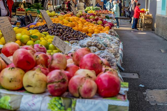 Various fruits on marketplace in Rijeka, Croatia