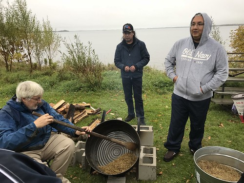<p>OISE Dean Glen Jones learning how to harvest wild rice</p>