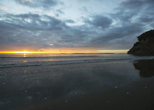 lisaridings fantommst nz newzealand auckland waiwera wenderholm regional park beach sunrise ocean shoreline shore driftwood landscape cloudy clouds