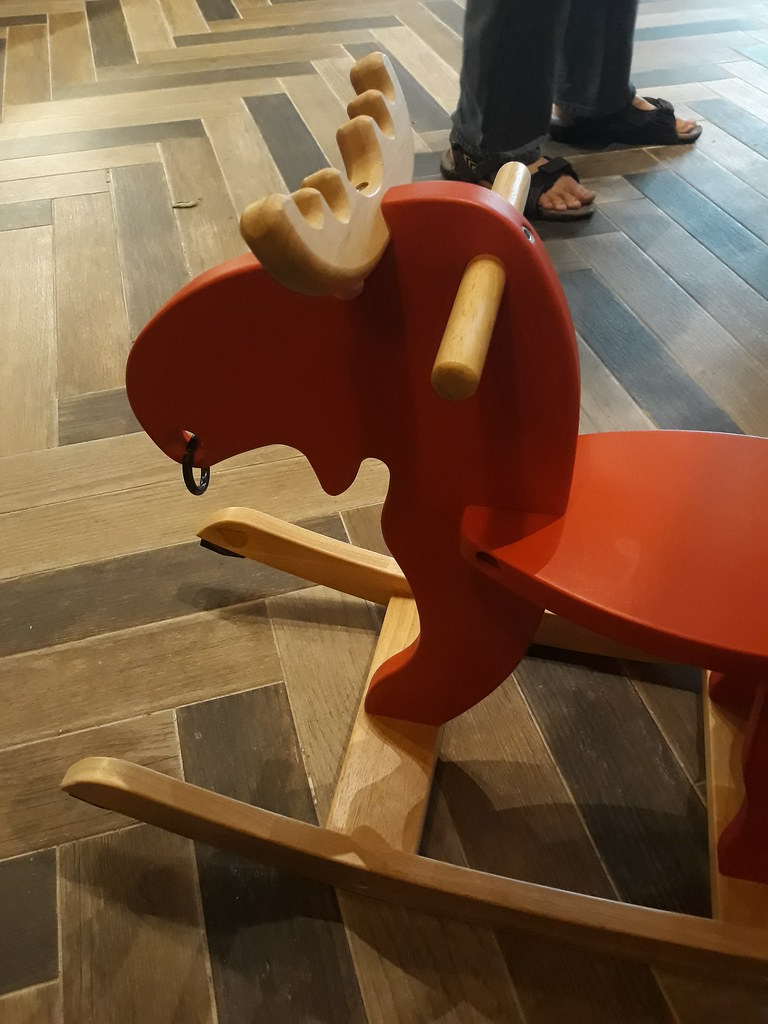 The toy moose had a ring in its nose, just like a member of the staff at the bookstore-cum-cafe The Moon