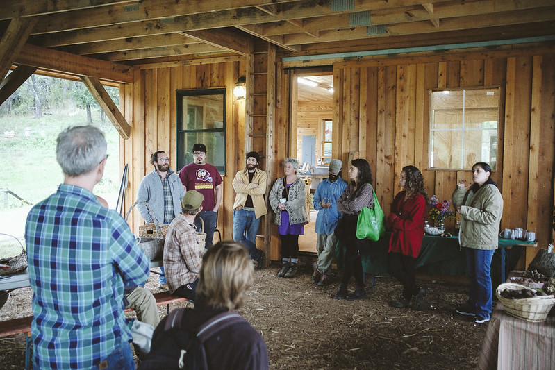 Yigal Deutscher of Farfields Farm welcomes Indigenous Foodways Workshop participants to the land, recognizing that the farm is located on Monacan Territory.   11/16/2018 Photo credit: Ézé Amos