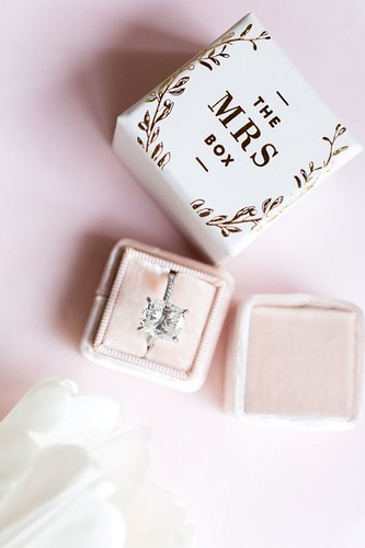 Engagement Rings Ideas : Pretty blush Mrs. Box for the bride's bling: www.stylemepretty...   Photography:...