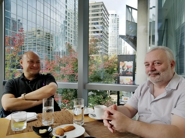 Brunch with these two at Market by Jean-Georges at the Shangri-La Hotel.