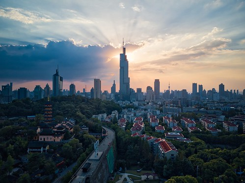 sunset tower sky skyscraper skyline city cityscape drone aerial hdr greatwall urban downtown cloud tall landscape landmark