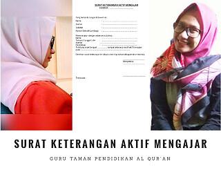 Surat Keterangan Aktif Mengajar Guru Tpq Ustadz Ustadzah Pontren Com