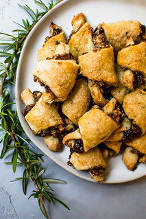 Rosemary and Fig Rugelach is a play on the traditional Jewish cookie, with sweet fig jam, caramelized walnuts and a touch of fresh rosemary for a sweet and slightly savory bite. | by FerraroKitchen1