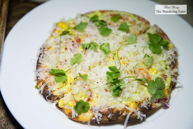 Elote Flat Bread - summer corn, cilantro aioli, queso fresco, lime