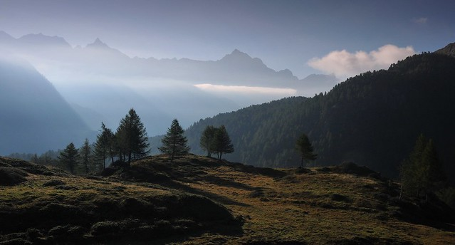 Switzerland - the morning above the valley Val di Poschiavo