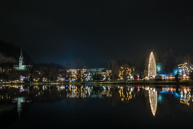 Christmas lights in Bled lake sLOVEnia