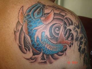 koi fish (Dejavu Tattoo Studio Chiangmai Thailand)   by augrust