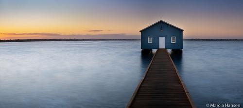 2018 australia crawley perth westernaustralia blue boathouse boatshed spring sunrise water