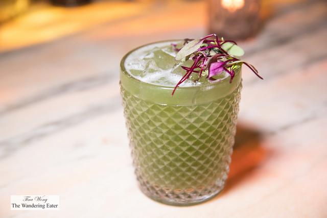 Greenseer - Eucalyptus Infused Tequila, Mezcal, Honeydew, Spirulina, Lime, Habanero Bitters, Micro Bulls Blood