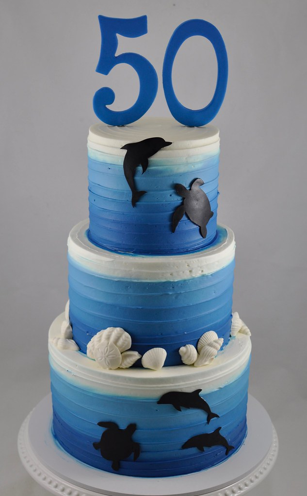 Excellent Under The Ocean Themed Birthday Cake Jenny Wenny Flickr Funny Birthday Cards Online Aeocydamsfinfo