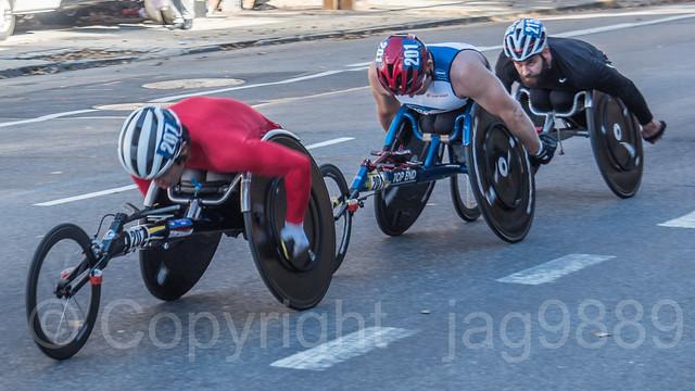 2018 TCS New York City Marathon - Men Wheelchair Athletes on Fifth Avenue in Central Harlem, Manhattan NYC