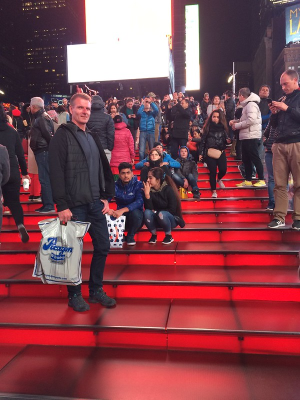 Red stairs on Time Square. Exactly on the 10th years anniversary
