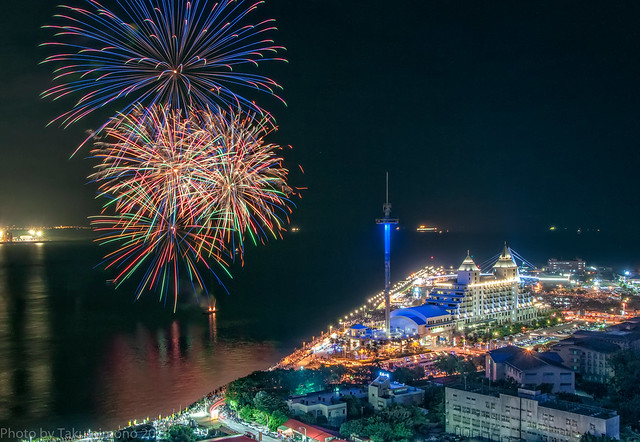 2018 Lover's Bridge in Danshui Fisherman's Wharf Fireworks ,Taiwan
