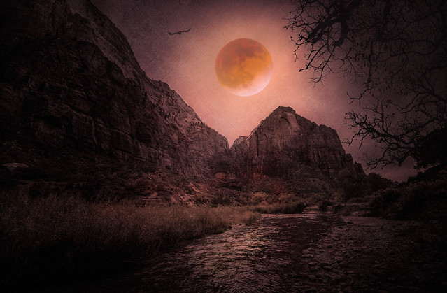 Red Moon Rising - Textured