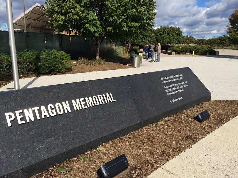 Pentagon Memorial . 184 people lost their life 9/11 2001