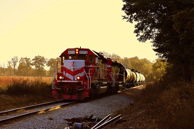 Indiana Rail Road in the early morning with a short string of tankers near Switz City Indiana