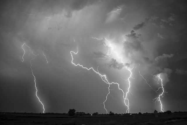 060918 -  Epic Nebraska Lightning! (Stacked) (B&W)
