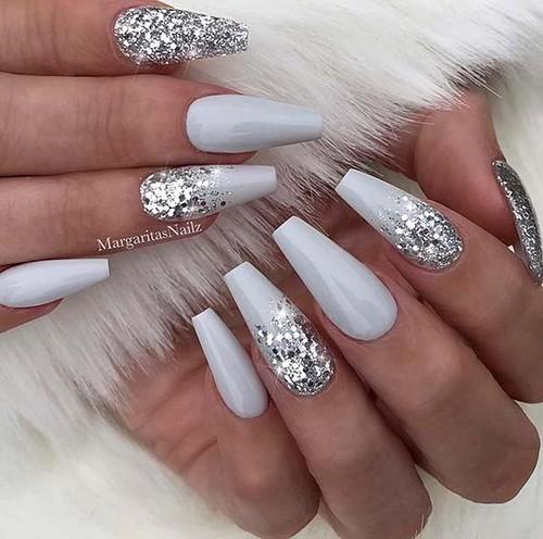 White Glitter Christmas Nails Ideas 2018