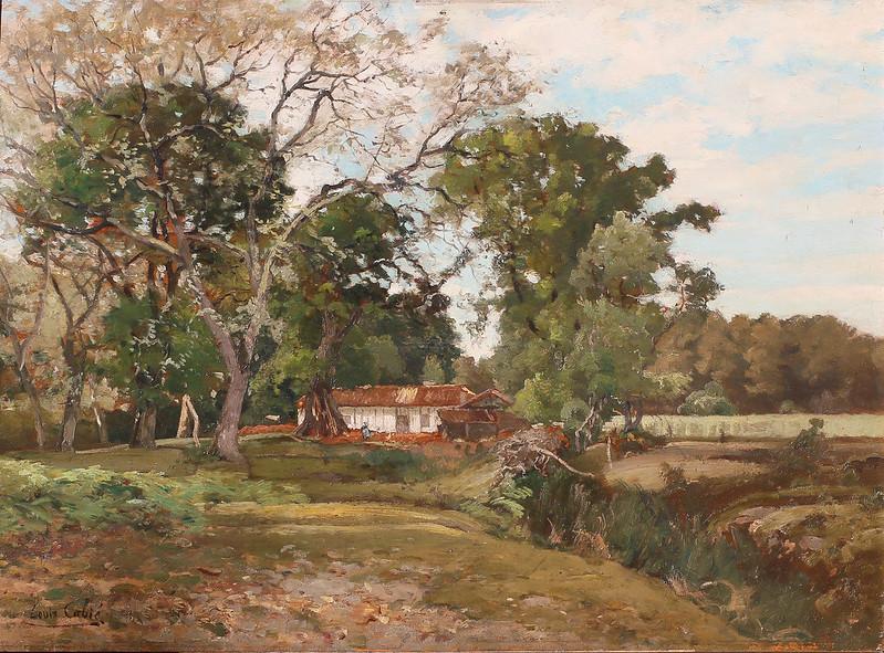 """Louis- Alexandre Cabié (1854 Dol-en-Bretagne- 1939 Bordeaux)""""Chaumière à Parentis""""(1887)"""