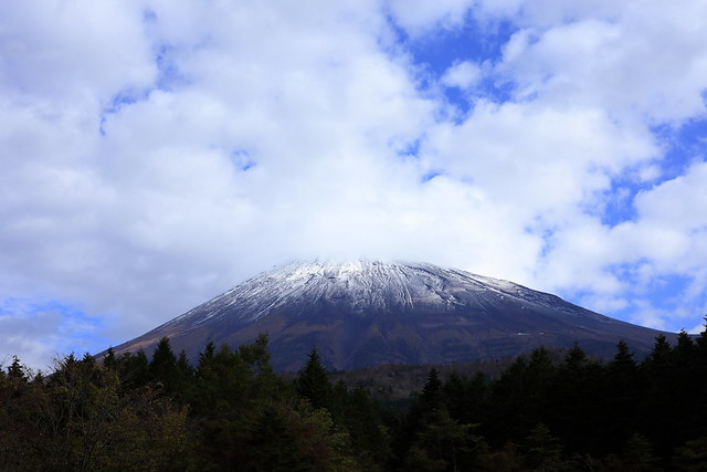 The top of Mount Fuji    was covered with the first snow of the season
