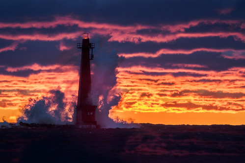 fall getolympus lighthouse michigan muskegon peremarquette puremichigan lakemichigan lake waves orange purple breakwater light fire water landscape olympusm40150f28 mc14 40150mm omdem1mkii omd omdem1ii em1mkiiomdem1markii em1ii oly olympus clouds