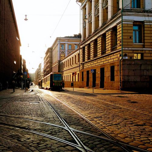 helsinki europe sun sunset tramway finland