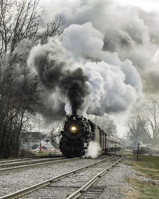 Pere Marquette 1225 blowing off steam in Ashley