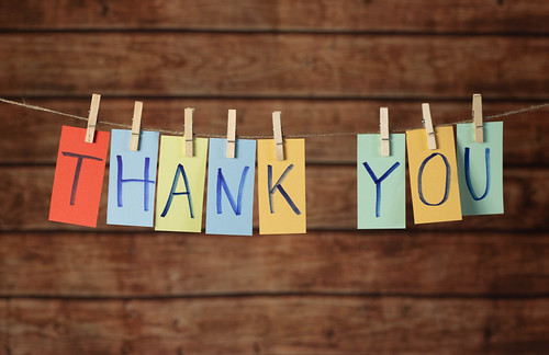 Thank you text hanging on the rope | by wuestenigel
